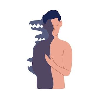 Kreskówka nagi mężczyzna pozowanie z pół cienia ciała wektor ilustracja płaski. mężczyzna dualności o ciemną stronę osobowości na białym tle. pojęcie problemów i uwarunkowań psychologicznych.