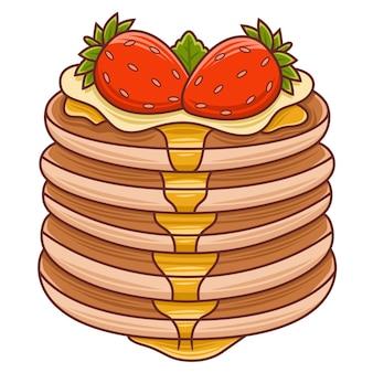 Kreskówka naleśniki dla ilustracji kawiarni lub restauracji