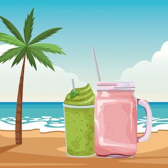 Kreskówka napój tropikalny owocowy koktajl