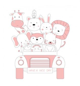 Kreskówka naszkicować słodkie zwierzaki za pomocą samochodu. ręcznie rysowane styl.