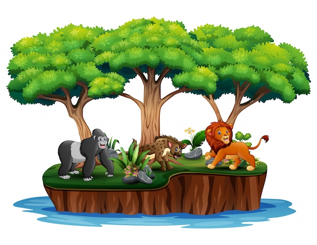Kreskówka natura wyspa z dzikimi zwierzętami