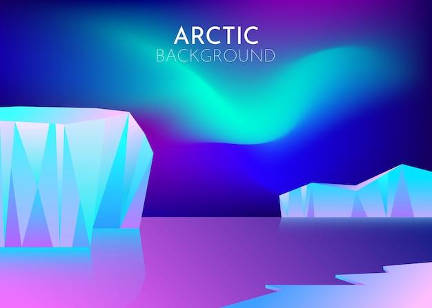 Kreskówka natura zimowy arktyczny krajobraz lodowy z góry lodowej, śniegowe góry wzgórza. noc polarna ze światłami północnej zorzy polarnej. abstrakcyjne tło. minimalistyczny styl. pojęcie.