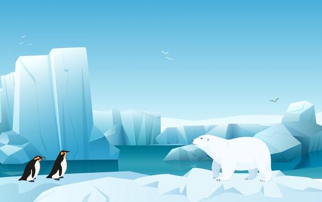 Kreskówka natura zimowy krajobraz arktyczny lód z góry lodowej, wzgórza góry śnieg. biały niedźwiedź i pingwiny. ilustracja stylu gry.