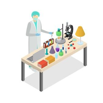 Kreskówka naukowiec osoba na laboratorium koncepcja eksperyment badania test projekt płaski. ilustracja wektorowa