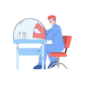 Kreskówka naukowiec przy stole w laboratorium naukowym ze szklaną kopułą próżniową