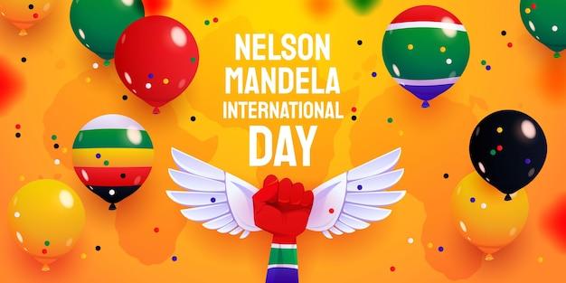 Kreskówka Nelson Mandela Międzynarodowy Dzień Balonów W Tle Premium Wektorów
