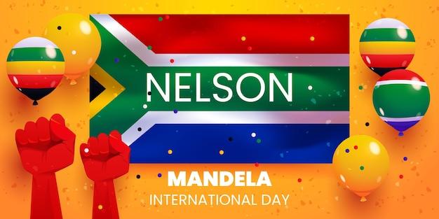 Kreskówka nelson mandela międzynarodowy dzień balonów w tle