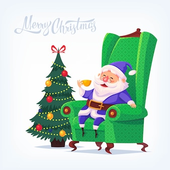 Kreskówka niebieski garnitur święty mikołaj siedzi na krześle, pijąc herbatę wesołych świąt bożego narodzenia ilustracji