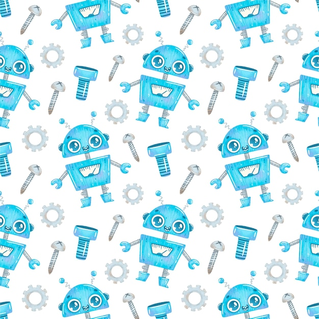 Kreskówka niebieski robot wzór
