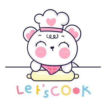 Kreskówka Niedźwiadek ładny Kucharz Postać Piec Piekarnia Logo Kawaii Zwierzę Premium Wektorów