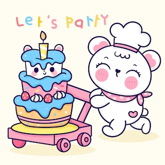 Kreskówka Niedźwiadek ładny Szef Kuchni Z Tortem Urodzinowym Na Imprezę Kawaii Zwierząt Premium Wektorów