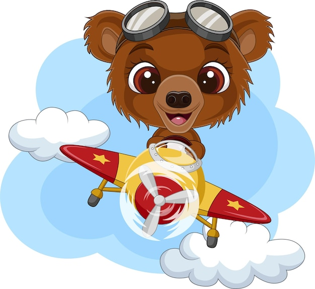 Kreskówka niedźwiadek obsługujący samolot