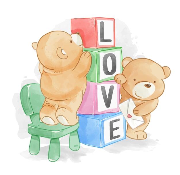 Kreskówka niedźwiadkowi przyjaciele z miłością boksują ilustrację