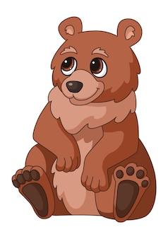 Kreskówka niedźwiedź. brązowy siedzący las grizzly, uśmiechający się słodki dzikie niedźwiedzie na białym tle