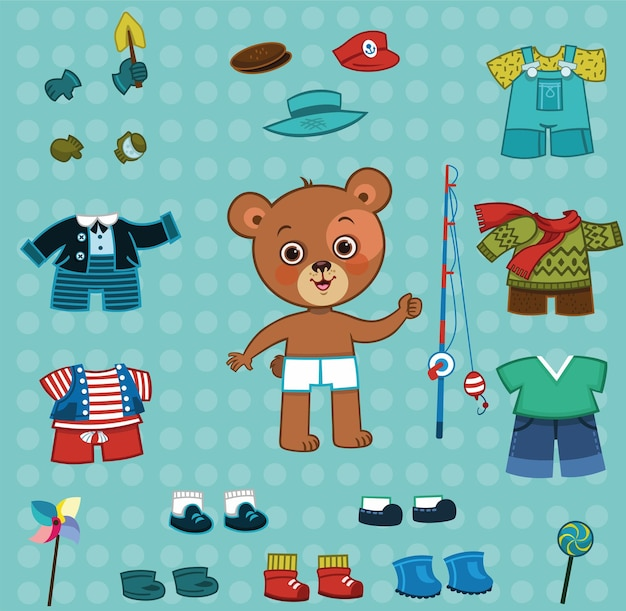 Kreskówka niedźwiedź chłopiec i jego zestaw ubrań do ubierania się papierowych lalek ilustracji wektorowych