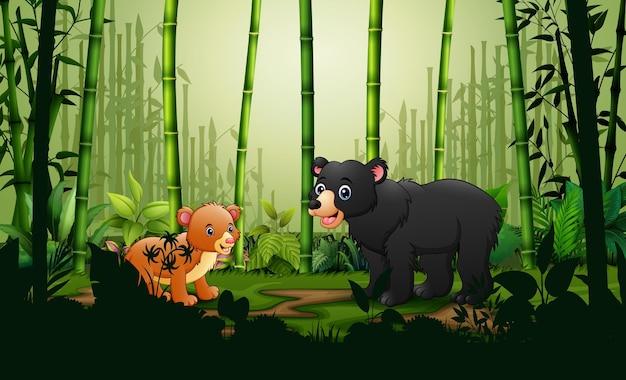 Kreskówka niedźwiedź i młode w bambusowym lesie