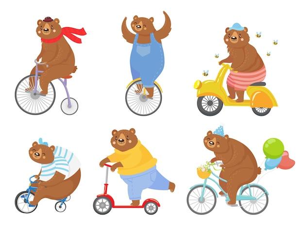 Kreskówka niedźwiedź na rowerze. niedźwiedzie na trójkołowych rowerach dziecięcych, monocyklach i rowerach retro. zestaw ilustracji roweru, rowerów i skuterów na zwierzętach.