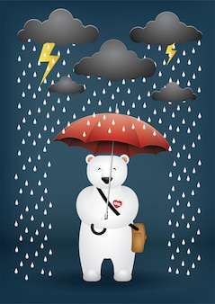 Kreskówka niedźwiedź parasol na deszczowy dzień.