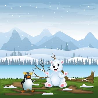 Kreskówka niedźwiedź polarny i pingwin na ilustracji pola śniegu