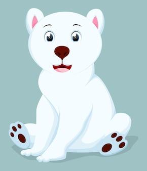 Kreskówka niedźwiedź polarny siedzący