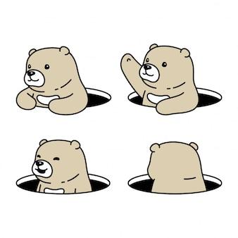 Kreskówka niedźwiedź polarny ukrywanie dziury