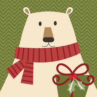 Kreskówka niedźwiedź polarny z prezentem na boże narodzenie