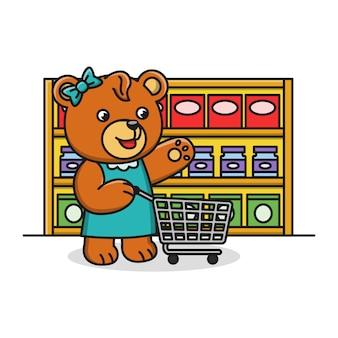 Kreskówka niedźwiedź robi zakupy w supermarkecie