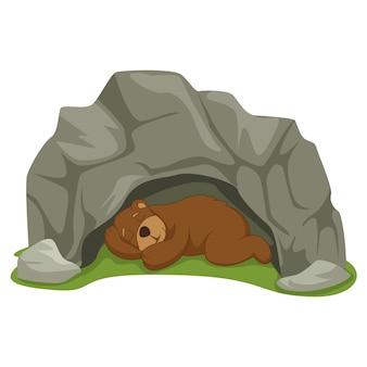Kreskówka niedźwiedź śpi w jaskini
