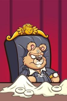 Kreskówka niedźwiedź z blizną na twarzy, jedzenie pączków z cukrem pudrem