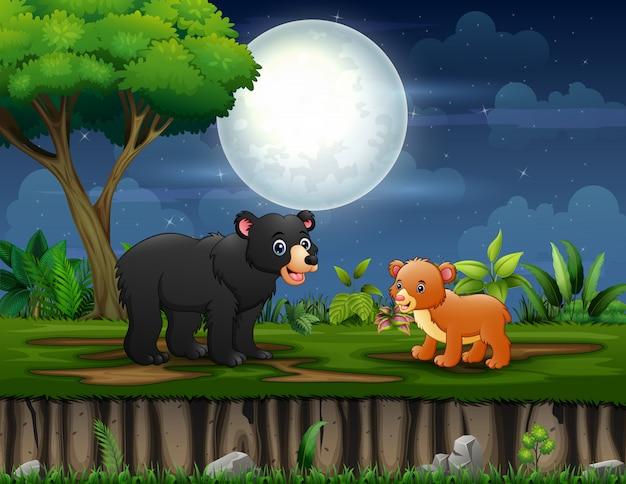 Kreskówka niedźwiedzia z jej dzieckiem, ciesząc się w nocy