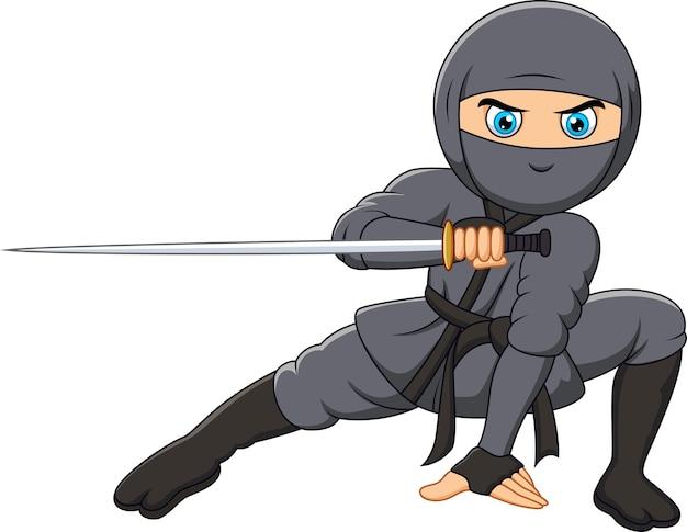 Kreskówka ninja trzyma miecz