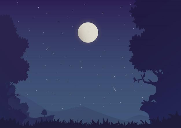 Kreskówka nocny krajobraz