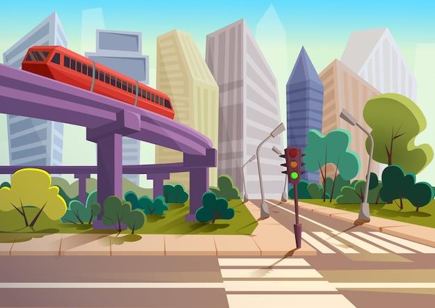 Kreskówka nowoczesna panorama miasta ze szklanymi drapaczami chmur i tło pejzaż metra autostrady.