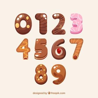 Kreskówka numer kolekcja w stylu deser