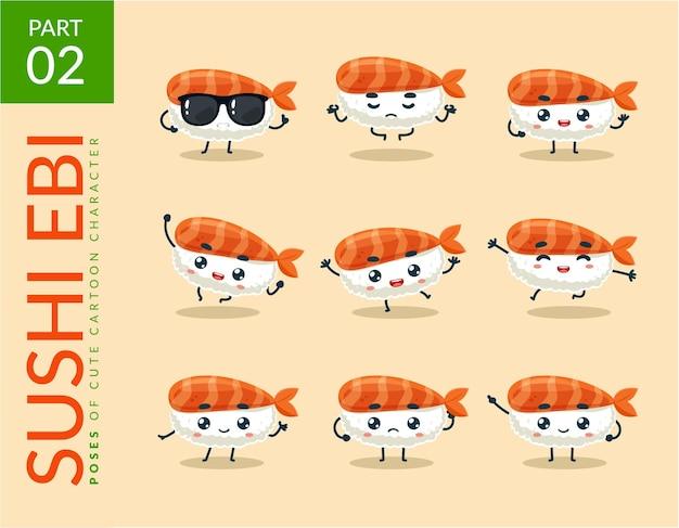 Kreskówka obrazy ebi sushi. zestaw.