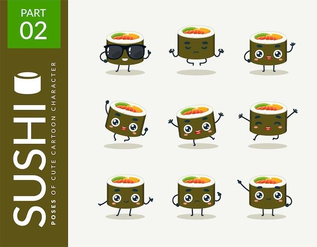 Kreskówka obrazy sushi. zestaw.