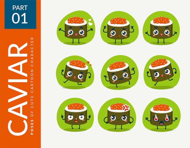 Kreskówka obrazy z kawiorem sushi. zestaw.