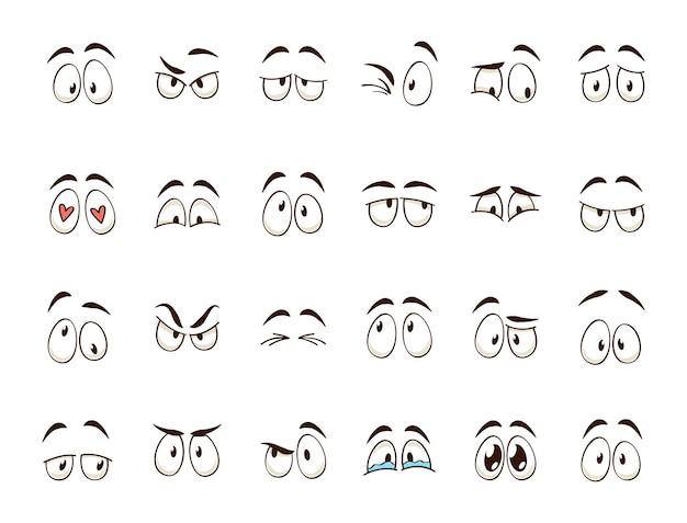 Kreskówka oczy. komiksowa postać oczu i brwi, uśmiechnięta, płacząca i zdziwiona. karykatura doodle emocje lub emotikon. zestaw ikon ilustracja na białym tle wektor
