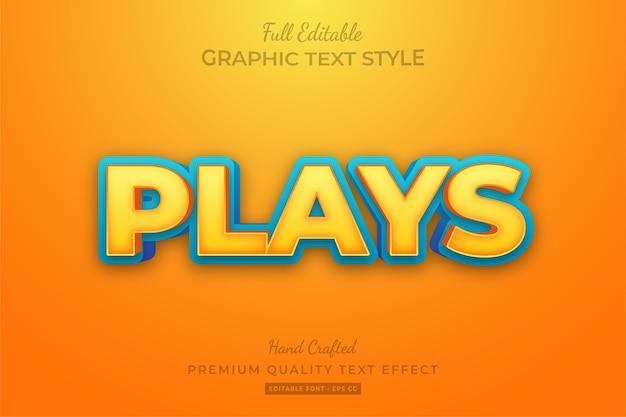 Kreskówka odtwarza edytowalny niestandardowy efekt stylu tekstu premium