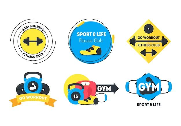 Kreskówka odznaki fitness lub etykiety zestaw elementów projektu płaski