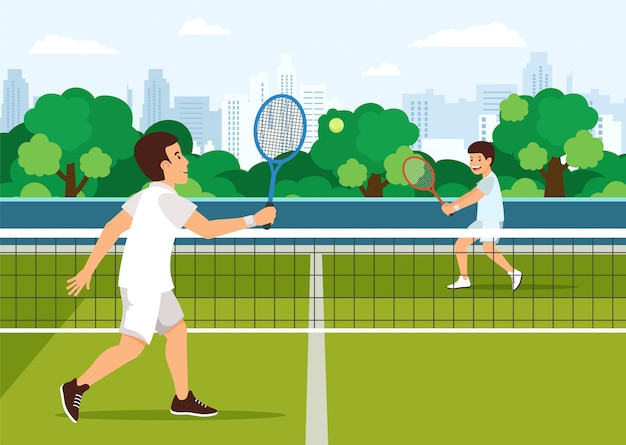 Kreskówka ojciec bawić się z synem w tenisie na sądzie.