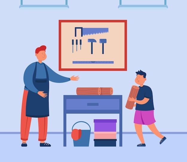 Kreskówka ojciec uczy syna stolarki w garażu