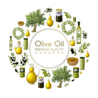 Kreskówka okrągła kompozycja naturalnej oliwy z oliwek z drzewami oliwnymi wieje gałęzie słoiki puszki butelki miski krople na białym tle