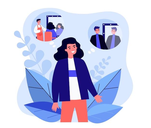 Kreskówka osoba z długimi włosami zmienia obraz. ilustracja wektorowa płaski. mężczyzna lub kobieta wyobrażając sobie krótkie strzyżenie w fotelu fryzjerskim. salon fryzjerski, fryzjer, zmiana wizerunku, koncepcja stylu