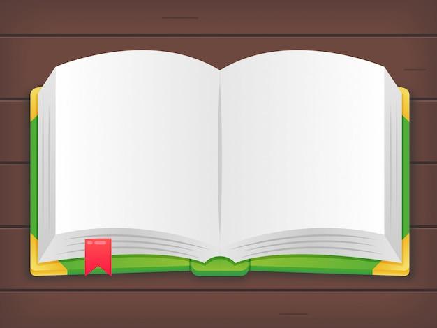 Kreskówka otwarta książka w drewnianym tle