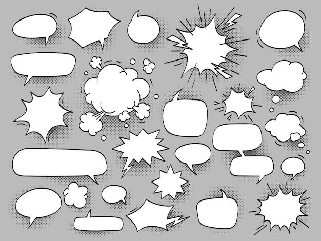 Kreskówka owal dyskutuje bąbelki mowy i huk bam chmury z hal