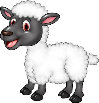 Kreskówka owców szczęśliwy pozować odizolowywam na białym tle