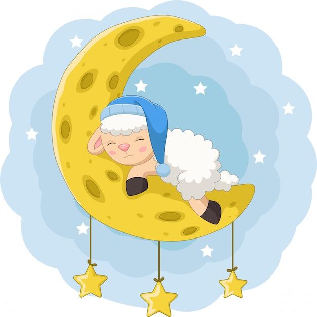 Kreskówka owiec dziecko śpi na księżycu