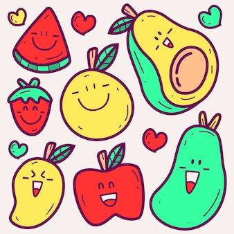 Kreskówka owoce doodle ilustracja