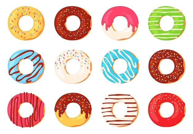 Kreskówka pączki. pączek czekoladowy z polewą i posypką widok z góry. okrągły słodki deser do dekoracji kawiarni. pączek glazury projekt wektor zestaw. ilustracja kolorowy pączek z przeszkloną kolekcją piekarni